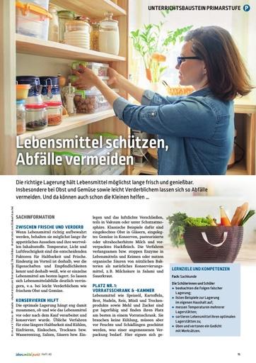 Lebensmittel schützen, Abfälle vermeiden