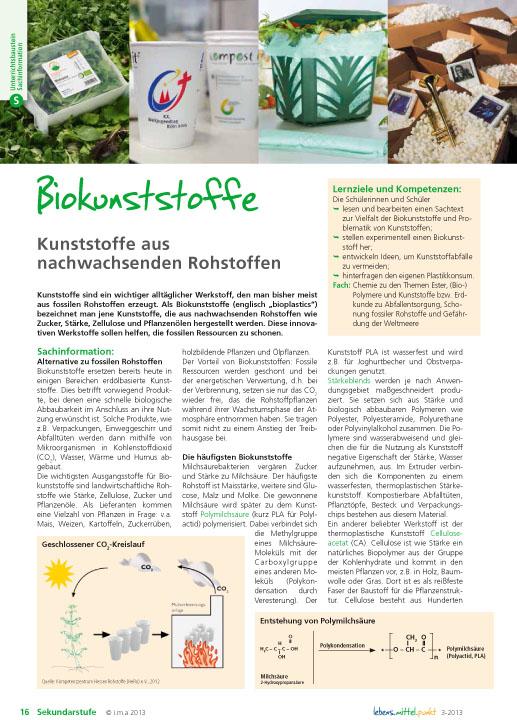 Biokunststoffe - Kunststoffe aus nachwachsenden Rohstoffen