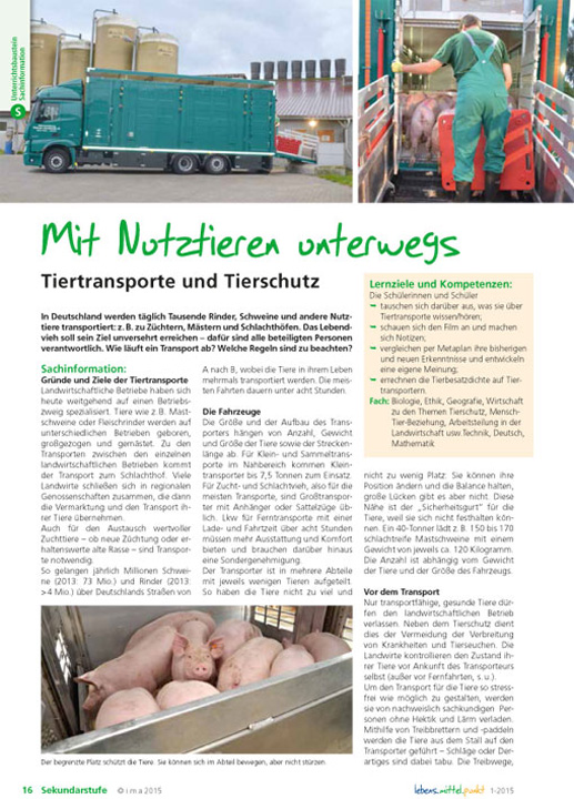 Mit Nutztieren unterwegs - Tiertransporte und Tierschutz