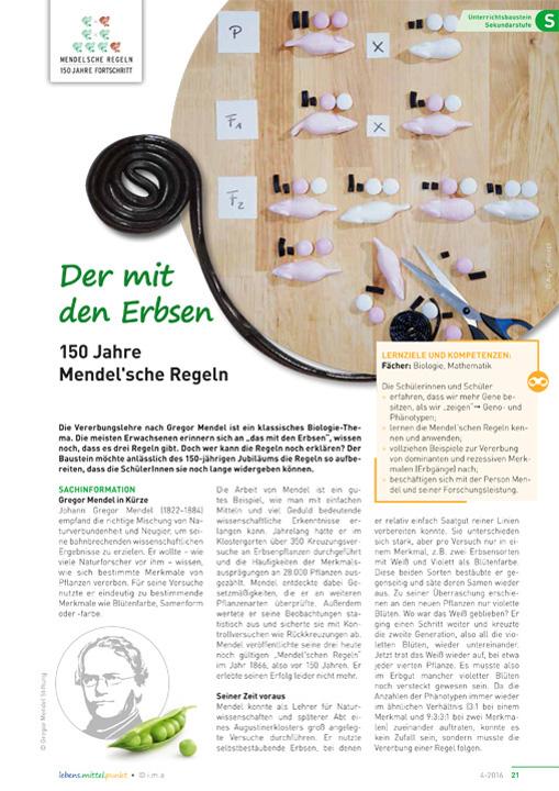 Der mit den Erbsen - 150 Jahre Mendel'sche Regeln
