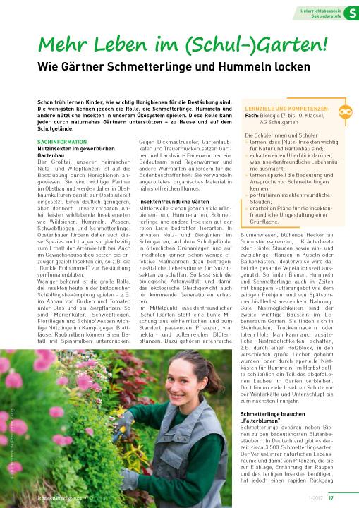 Mehr Leben im (Schul-) Garten! - Wie Gärtner Schmetterlinge und Hummeln locken